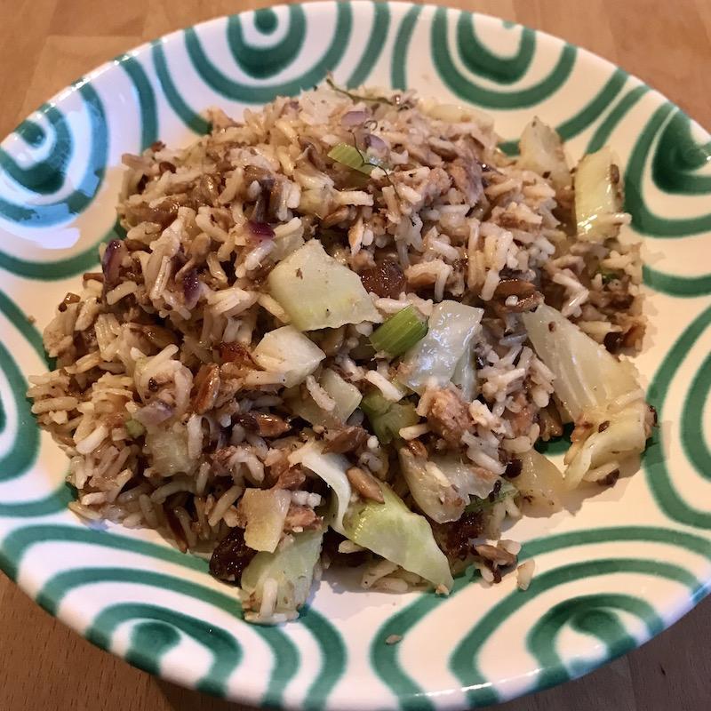 High Carb, High Protein Sardellen Fenchel Reispfanne